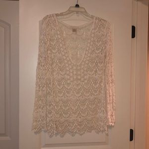 Boho crotchet lace cover up in ivory